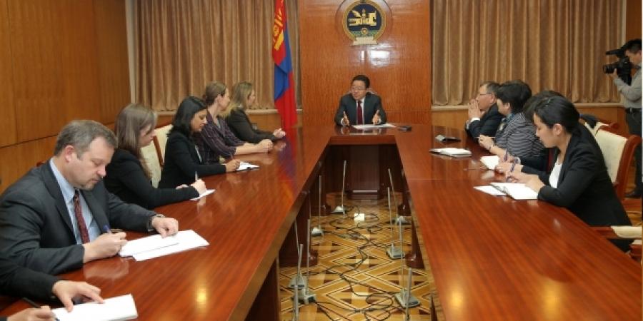 Монгол Улсын Ерөнхийлөгч Мянганы сорилтын корпорацийн Ерөнхийлөгчийг хүлээн авч уулзав