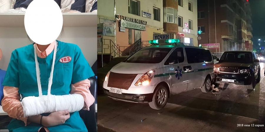 Дуудлагаар очсон эмчийг доромжилж, түргэний машиныг нь мөргөжээ