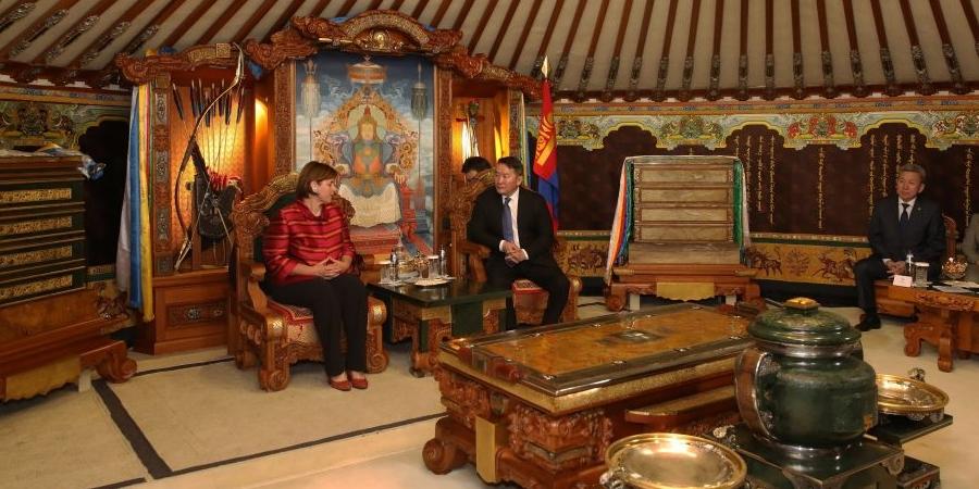 Марина Кароббио Гүшэтти Монгол Улсын Ерөнхийлөгч Х.Баттулгад бараалхлаа