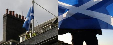 Шотландын далбааг ерөнхий сайдынх нь өргөөн дээр хатгажээ
